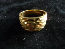 SOLID 18K YELLOW GOLD NUGGET RING