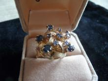 BLUE SAPPHIRE SOLID 14K GOLD CLUSTER COCKTAIL RING