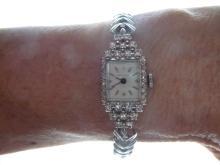 HAMILTON .50 CARAT DIAMOND ENCRUSTED 14K WATCH