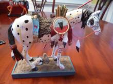 LIMITED EDITION COLLECTIBLE PAINTED INDIAN PONIES STATUETTE