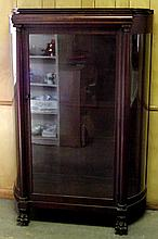 Mahogany Curved Glass China Cabinet w/Animal Paw Feet
