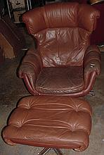 Overman 1960s Swedish Chair & Ottoman