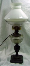 19th Cent. Table Lamp w/Iron Base