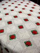 1950s Crocheted Bedspread w/Red Roses
