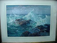 Alexander Bower Seascape w/Waves Crashing on Rocks