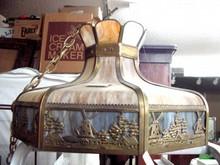 1910 Curved Slag Glass Ceiling Light