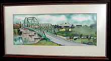 Bill Kidwell Gay St Bridge Knoxville Tenn. Watercolor