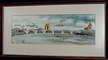 Bill Kidwell Henley St. Bridge Knoxville Tenn Watercolor