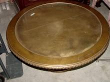 Gilt Round 1970s Coffee Table w/Glass Top
