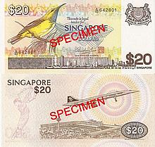 Singapore 'bird' $20 banknotes