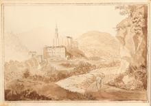 Sepia Drawing of Landscape, Monastery, and Figures