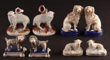 8 Piece Collection of Staffordshire Lambs and Dogs