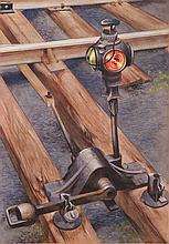 William Libby 1943 precisionist Railroad Watercolor