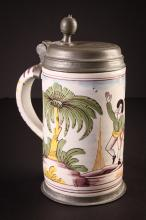 18th Century German Pewter and Faience Stein