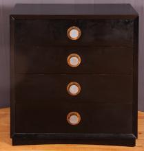 Modern Black Lacquered Dresser w/interesting pulls