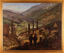 Miles Early ptg. Industrial Valley Landscape with Workers in Foreground