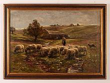 A Bryan Wall ptg. Shepherd with Grazing Flock