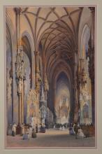 Rousee Cathedral Interior Watercolor