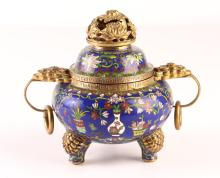 Cloisonné Incense Burner, Basket, and Flowering Vases
