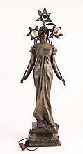 Emmanuel Villanis Figural Newel 3 light Lamp