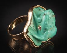 14k Gold, Diamond and Turquoise Frog Cocktail Ring