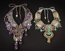 2 Barbara Natoli Witt Elaborately Beaded Necklaces