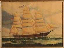 19th C. watercolor of the Bark Annie M. Smull