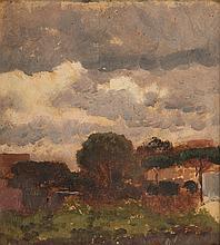 Edoardo Dalbano Landscape oil on artist's board