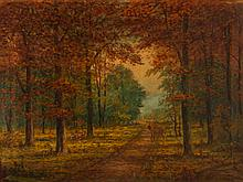 A.F. King ptg. Deer Family in Autumn Woods