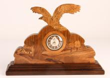 Scenic Wood Inlaid Desk Clock with Eagle Profile