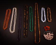 Group of 9 Hardstone, Semi Precious Stone Necklaces