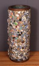 Vintage American Folk Art Memory Glass Pedestal