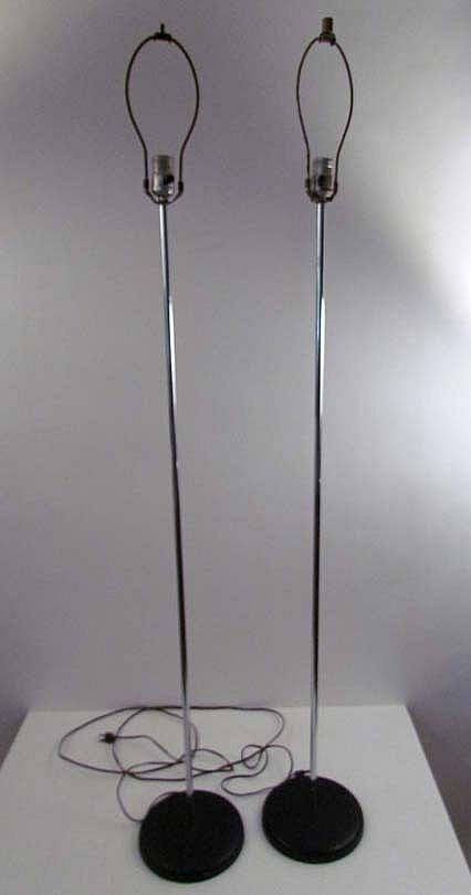 Pair of George Kovacs Style Chrome Floor Lamps