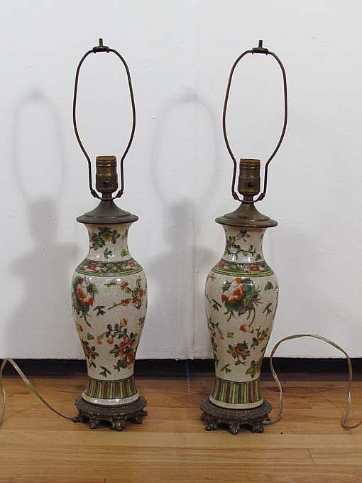 Pair of Chinese crackle glaze porcelain vases converted to lamps