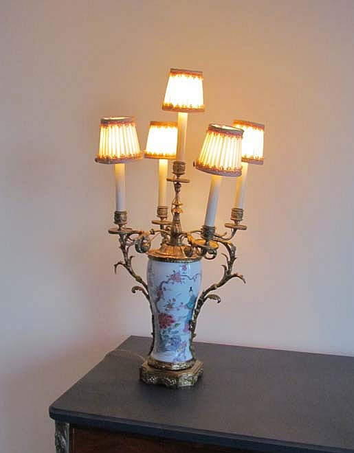 Chinese Porcelain Vase fitted as Candelabra