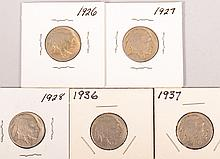 1926-1927,1936,1937 Buffalo Nickels 5pcs
