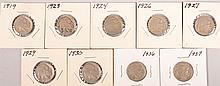 1919,1923-24,1926-27,1929-30,1936-37 Buffalo Nkls 9pc