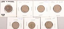 1889-1903, 1905,1911 V Nickels 7pcs