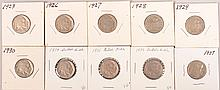 1923,1926-1930,1934-1937 Buffalo Nickels 1per yr 10pcsvery good
