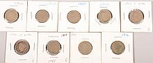 1902-03,1905-08,1910-12 V Nickels 9pcs