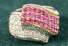 13.6 gm 18Kt 1.50tcw ruby & 1.0tcw dia ring  size 6.25