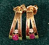 Natural Ruby & Dia 14kt Earrings