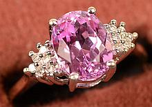 2.29ct Pink Sapphire w/dia ring 10Kt Gold Size 7.5
