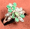 .40ct Emerald w/dia ring 14kt White Gold size 7.5