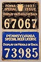 Lot of (2) PA tin plate hunting license tags: 1930 Special Deer License and 1937 Special Issue. Fine and good.