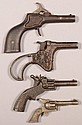 Lot of (4) small cast iron cap pistols 2-3/4
