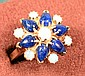 14 KT SAPPHIRE & OPAL GOLD RING 5.5 GRAMS SIZE 6