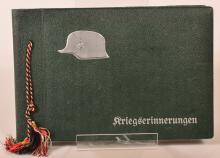 German Soldier's photo album w/ helmet design.