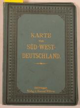Folding Map of Southern Germany on linen