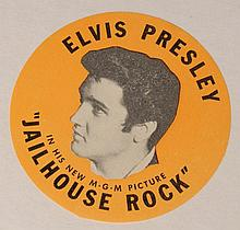 Elvis Presley: 'Jailhouse Rock' promo sticker and related letter, 1957